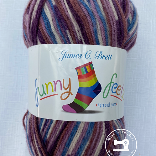 James C Brett Funny Feetz 100g 4ply Sock Wool - Pinks FZ03