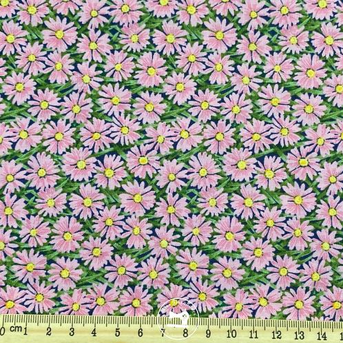 Makower Summer Garden Daisies Pink Fabric