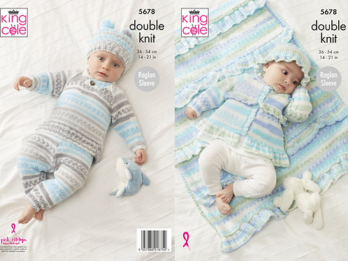 King Cole  Babies Jacket, Sweater, Pants, Hats and Blanket  DK - 5678