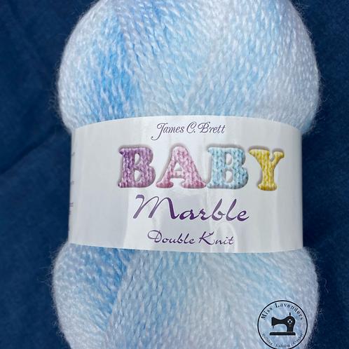 James C Brett Baby Marble DK - White/Blue  BM09