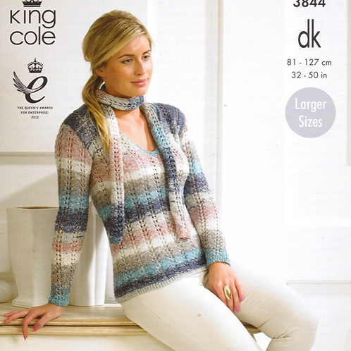 King Cole Ladies Sweater/Summer Top - Double Knit DK - Knitting Pattern - 3844