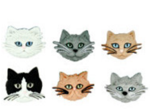 Dress it up Buttons - Fuzzy Felines Childrens/Craft Buttons