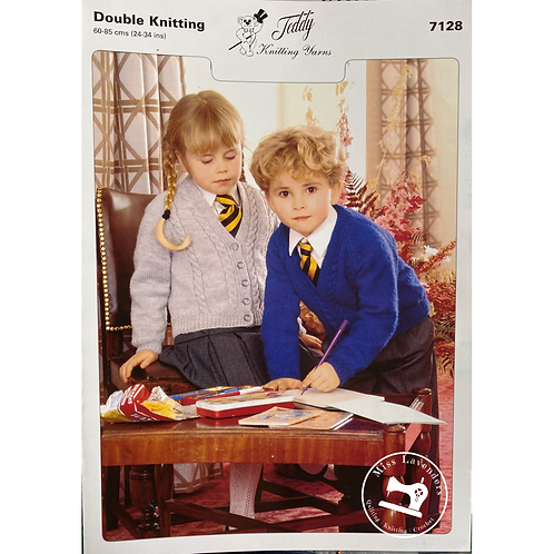 Teddy Childrens Cardigan and Sweater DK Knitting Pattern - 7128