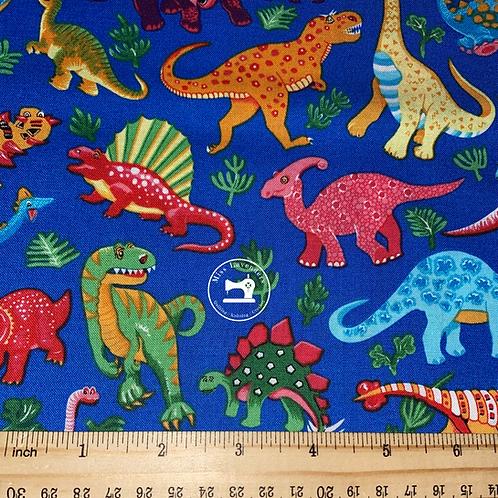 Dinosaur Print Blue Fabric - 100% Cotton