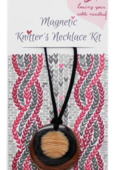 Knitters Necklace pendant made using KnitPro coloured wood embedded with magnets