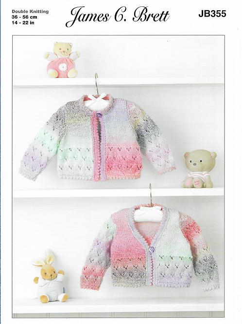 James C Brett Baby Cardigan Double Knit DK - Knitting Pattern JB355