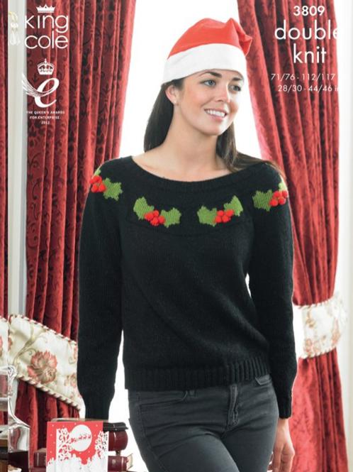 King Cole Adults Christmas Sweaters  - DK - Knitting Pattern - 3809
