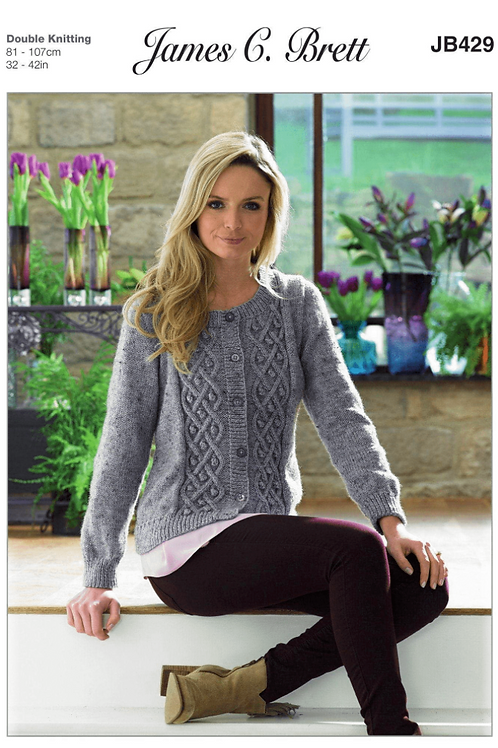 James C Brett Adult Cardigan Double Knit DK - Knitting Pattern - JB429