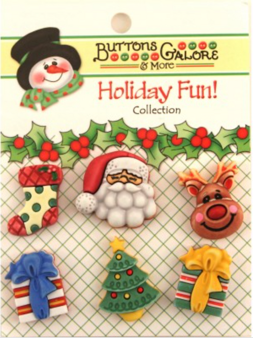 Buttons Galore - Here Comes Santa - Childrens/Craft Button