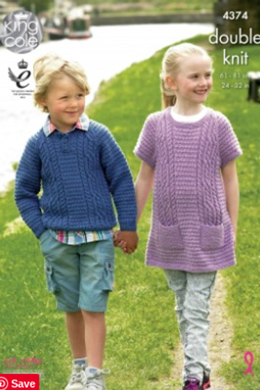 King Cole 4374  Childrens Sweater & Tunic