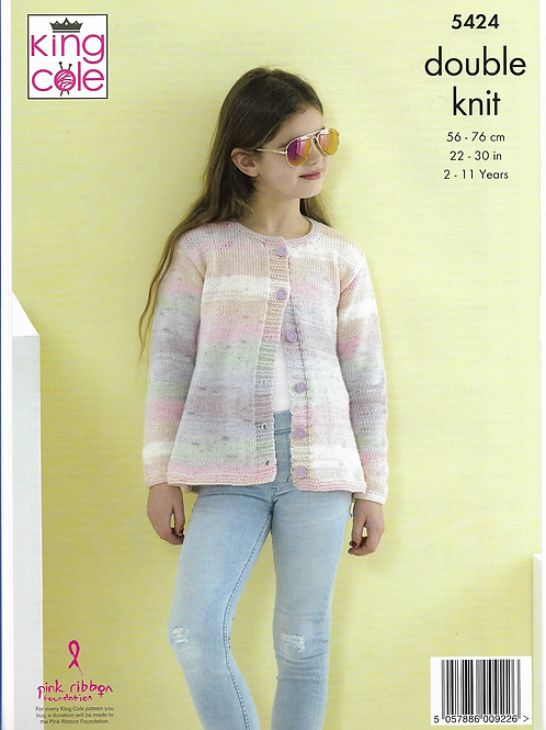 King Cole Childrens Cardigan Double Knit DK - 5424