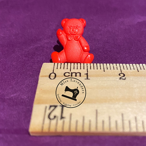 Red Teddy Bear Buttons 16mm