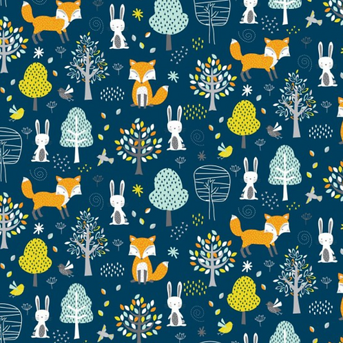 Woodland Friends Fabric - Forest Foxes, Trees