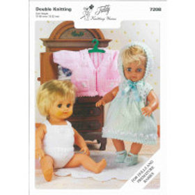 TEDDY DOLL & PREMATURE BABY OUTFITS KNITTING PATTERN 7208