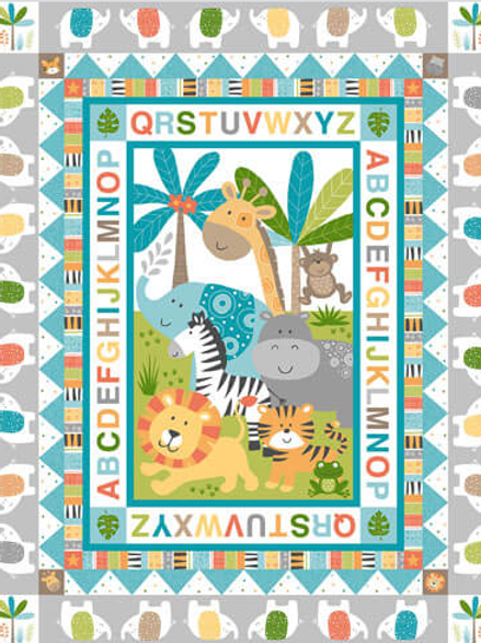 Jungle Senic Panel Fabric - Childrens Quilt