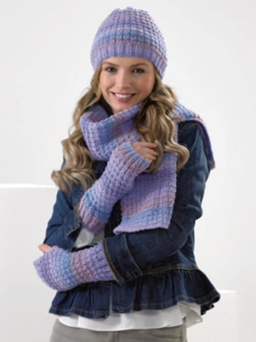 James C Brett - Adult Hat, Cowl, Gloves, Wrist and Scarf JB591- DK