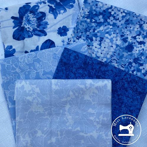 Chintz Blue Floral - Cotton Fat Quarters - 5 Pack
