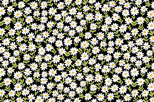 Makower Sunny Bee - Daisies Black Fabric