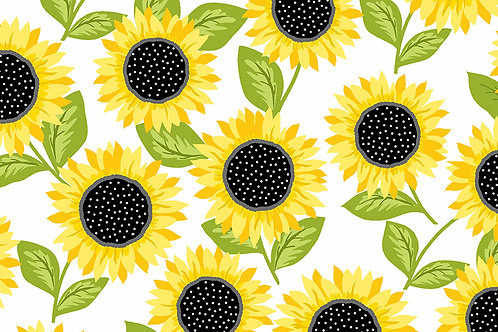 Makower Sunny Bee - Sunflowers White Fabric