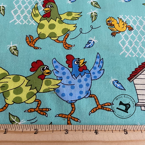 Farm Fun Chicken Print Fabric - 100% Cotton