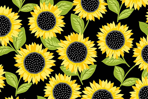 Makower Sunny - Bee Sunflowers Black Fabric