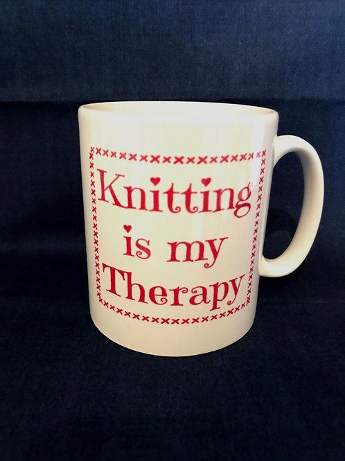 Knitting Mug Gift - Knitting is my Therapy