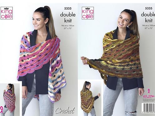 King Cole DK Crochet Shawl - 5335