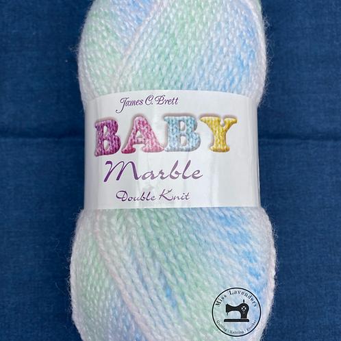 James C Brett Baby Marble 100g Double Knit DK- Mix of Blue/Green/White - BM29