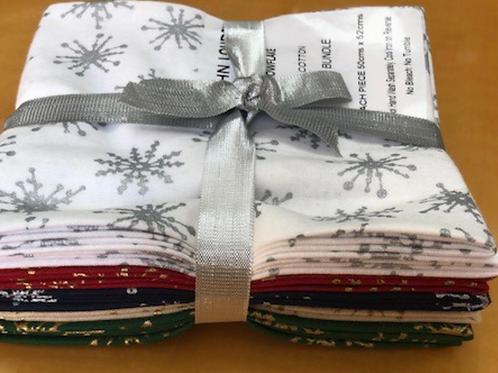 Christmas Fat Quarter Pack - John Louden Cotton Snowflakes 5 Pack