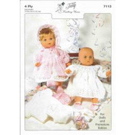 DOLL & PREMATURE BABY KNITTING PATTERN 7113