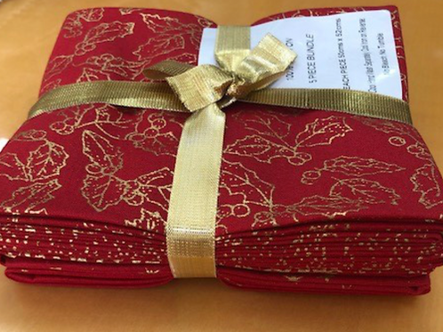 Christmas Fat Quarter Pack - John Louden Cotton Red/Gold  5 Pack