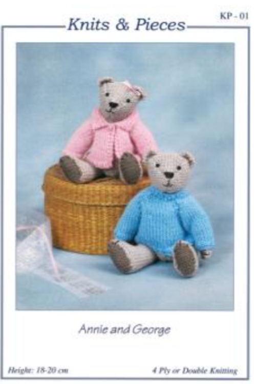 Knits and Pieces - Annie and George Teddy Bear Knitting Pattern - KP-01
