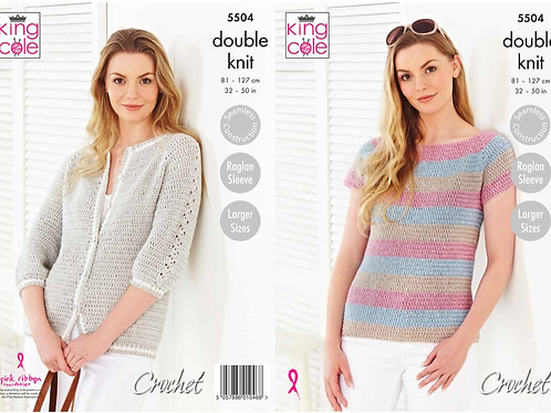 King Cole 5504 Ladies Top/Sweater/Cardigan Crochet  DK -5504
