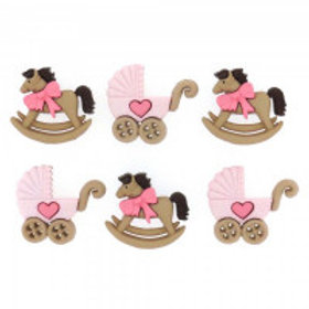 Horse & Buggy - Girl Novelty Buttons by Dress It Up