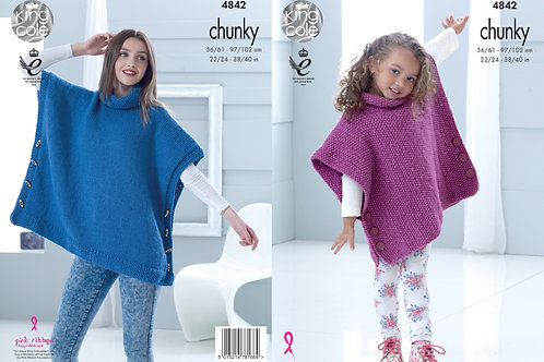 King Cole 4842  Childrens/Adult Chunky Poncho/Slipover