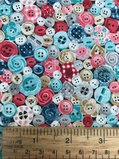 Makower Stitch in Time  - Buttons Fabric