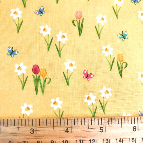 Makower Spring Meadow - Yellow Fabric
