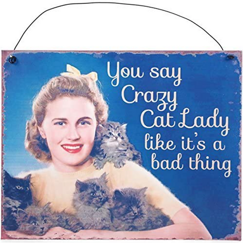 You Say Crazy Cat Lady Like its a bad thing- Metal  Sign