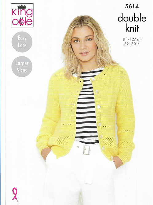 King Cole Adult Cardigan in Double Knit DK - 5614