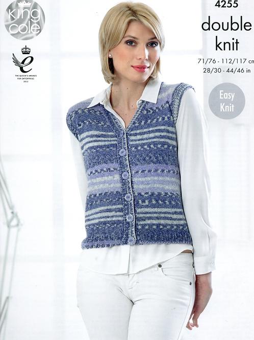King Cole Ladies Tank Top/Waistcoat - Knitting Pattern DK 4255