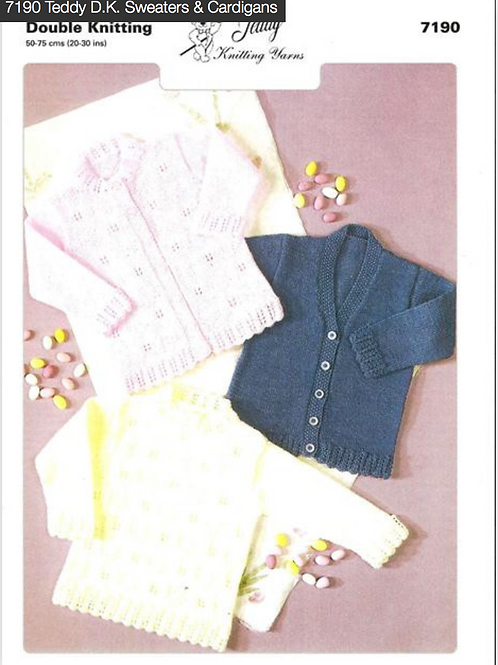 Teddy Baby/Childrens Cardigans and Sweater, Knitting Pattern - 7190
