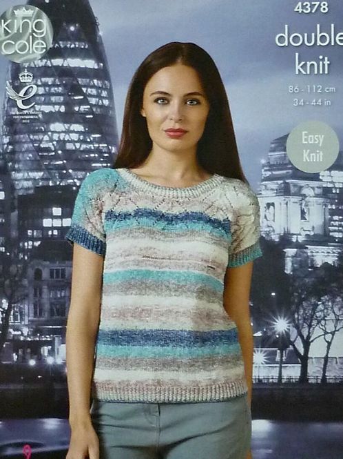 King Cole Ladies Sweater/Summer Top - Double Knit DK - Knitting Pattern - 4378