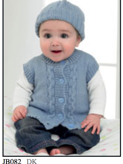 James C Brett Baby  Cardigan, Waistcoat, Hat and Mittens DK - JB082