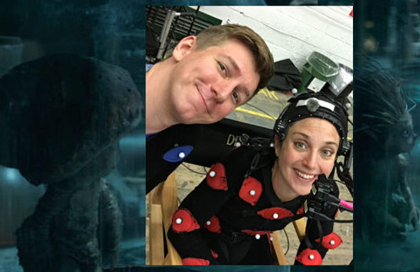 Mo-cap performers Mikey Brett and Emma MacLennan relax on the set of Maleficent 2