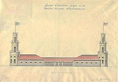 Фасад скотного двора с башнями