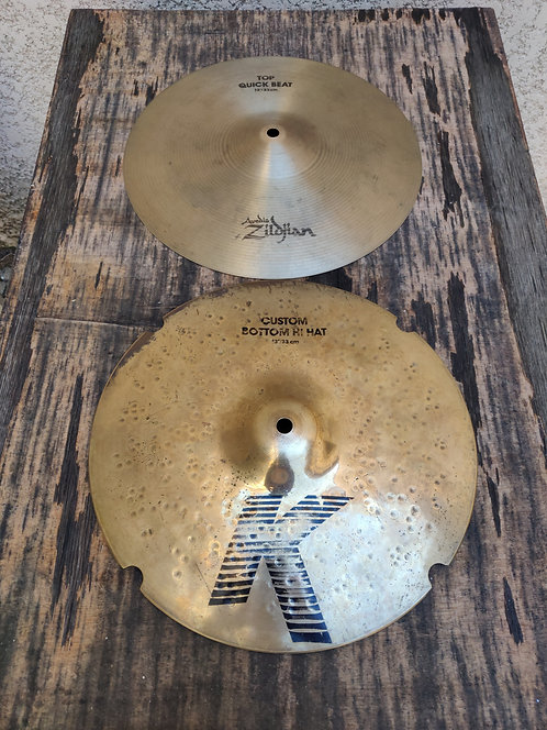 "Zildjian hi hat top quick beat avedis bottom K Custom  13"" (dyno)"