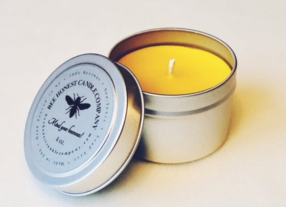 100% Pure Beeswax Candle Tin 4oz.