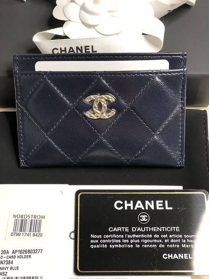Chanel   Navy Lambskin CC logo Card Holder
