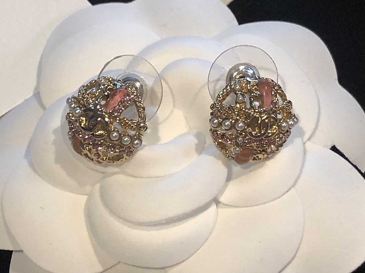 Chanel | Gold and Pink with White Pearl Earrings