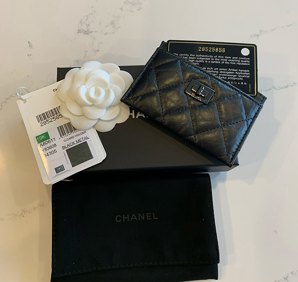 Chanel | Black Metal Leather Card Holder